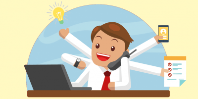Happy employee with a software to automate repetitive tasks